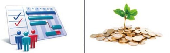 Так «Истина» символически обозначает НИР (слева) и привлечение инвестиций (справа)