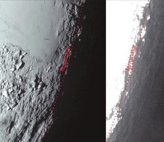 5. Это изображение Плутона от New Horizons, обработанное двумя разными способами, демонстрирует удивительное для столь безжизненного небесного тела явление — сумрак, порождаемый мягким свечением атмосферной дымки, что освещает поверхность между закатом и восходом солнца и позволяет чувствительным камерам New Horizons разглядеть детали рельефа в ночных регионах, которые иначе остались бы для нас незримыми. Правая версия изображения значительно «засвечена», чтобы выявились малозаметные топографические детали за чертой терминатора (линии, разделяющей день и ночь). Снимок сделан 14 июля 2015 года с расстояния 80 тыс. км.