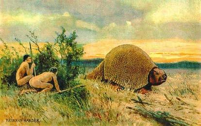 Рис. 7. Охота на глиптодона. Рисунок Хайнриха Хардера  (1858–1935). «Википедия»