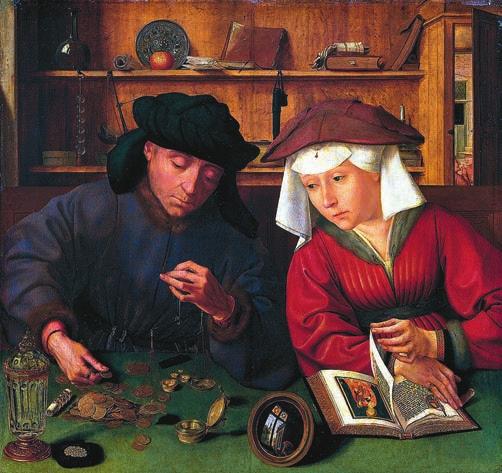Квентин Массейс. Меняла с женой. Около 1514, Лувр