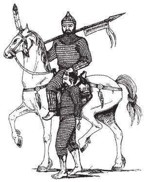 Рис. Нормана Финкельштейна по мотивам изображения кочевника на серебряном кувшине VIII века из клада Надь-Сент-Миклош на юге Венгрии. Возможно, хазары выглядели именно так
