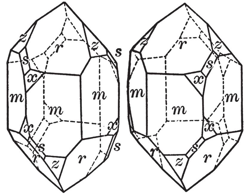 «Левый» и «правый» кристаллы кварца