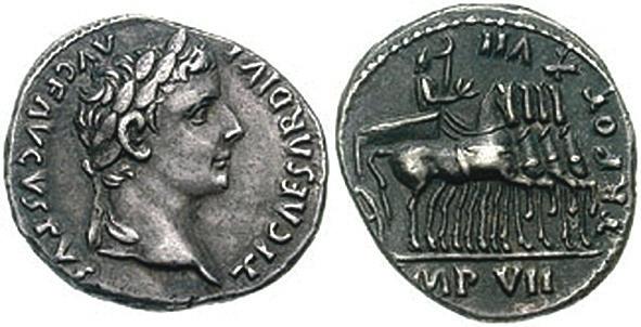 Денарий Тиберия (р. 42 г. до н. э., имп. с 14 г. н. э., ум. 37 г. н. э.) (www.wildwinds.com)