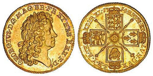Гинея Георга I (1714). (coins-of-the-uk.co.uk)
