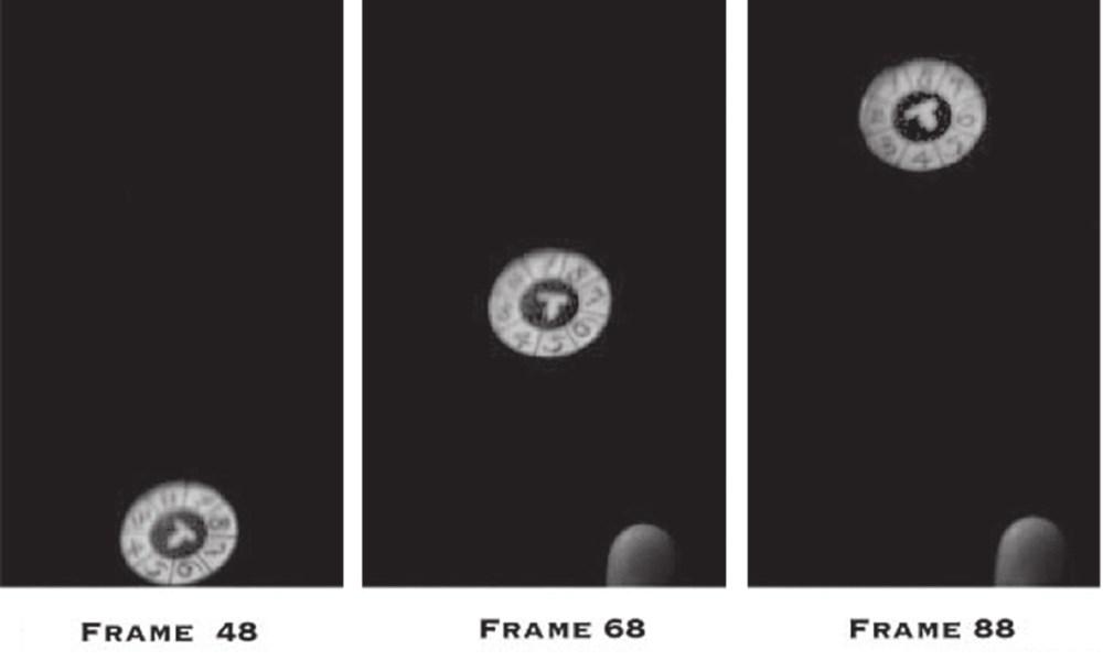 12. Прецессия: кадры отстоят друг от друга ровно на один оборот монеты. Обратите внимание на вращение относительно оси, перпендикулярной поверхности [15]