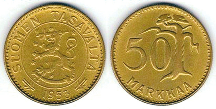 50 марок. Финляндия, 1953 год (не та!) (worldcoingallery.com)