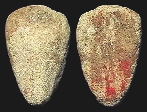 6В. Имитация каури из песчаника с остатками краски, периоды Шан и Чжоу, ок. 1400–900 годы до н. э. [3]