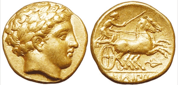 Рис. 1. Золотой статер македонского царя Филиппа II (359–336 до н. э.)