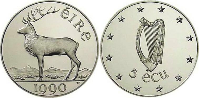 Рис.1. Ирландия, 5 экю, серебро