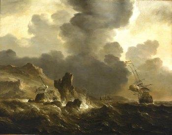 Людольф Бакхёйзен (1630–1708). Наряду с Виллемом ван де Велде считается самым известным художником-маринистом Голландии. Крушение голландского корабля на скалистом берегу (1660). Национальный морской музей (Лондон)