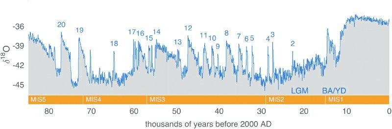 Рис. 4. События Дансгаарда — Эшгера в записи изотопного состава кислорода гренландского льда за тысячи лет до 2000 года н. э. (ka). Ледяная колонка из проекта «Северного Гренландского ледяного щита» в точке 75.10° с. ш., 42.32° з. д., высота над уровнем моря 2917 м (группа NGRIP, 2004). Горизонтальная оранжевая полоса показывает морские изотопные стадии (MIS) в течение этого периода. События Дансгаарда — Эшгера помечены синими цифрами. Также отмечены последний ледниковый максимум (LGM) и переход от Бёллинга — Аллёрода / к позднему дриасу (BA / YD)