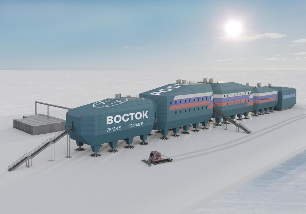 Визуализация нового зимовочного комплекса станции «Восток». Рисунок предоставлен ААНИИ