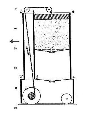 Современный чертеж самодвижущегося механизма Герона Александрийского