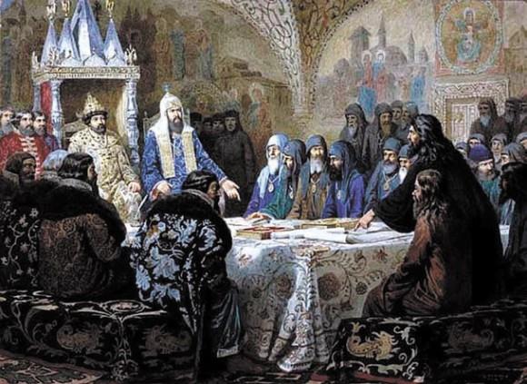 Церковный собор 1654 года (патриарх Иикон представляет новые богослужебные тексты). Алексей Кившенко. 1880 год