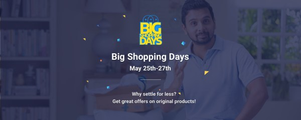Big Shopping Days on Flipkart. Offer Period : May 25,26,27 2016