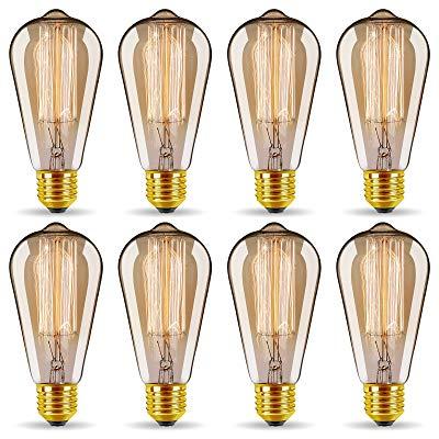 50%OFF ST64 Vintage Edison Light Bulbs 60W/110V E26/E27 Base (8 Pack) coupon