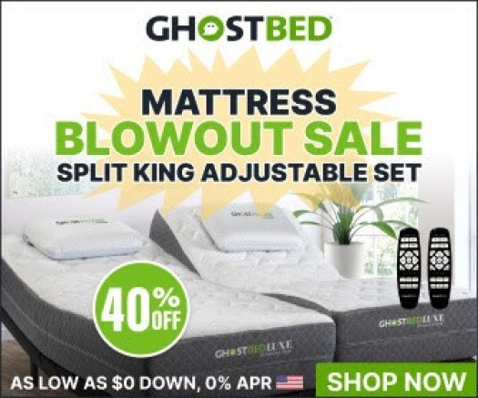 Try Any Mattress of Your Choice RISK-FREE @ Home W/ Free Delivery split-king-adjustable-ghostbed Better Sleep with Adjustable Beds Mattress Foundations Sleep Science  technology for the bedroom split king adjustable foundation split king adjustable bed split king adjustable base sleep comfort sleep better reverie technology power foundation power bed power base power adjustable bed massage technology bedroom tech adjustable power base adjustable foundation adjustable beds adjustable bed features adjustable bed base adjustable bed adjustable bases