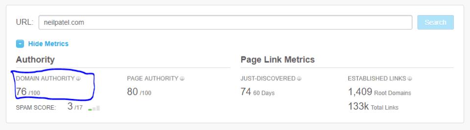 domain authority neil patel