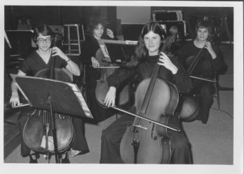 Winter Concert on January 18, 1978 at Duquesne University Recital Hall. Left to right (front) Rachel Wagner and Nancy Hardy; (back) Vicky Steele and Kathy Malucci