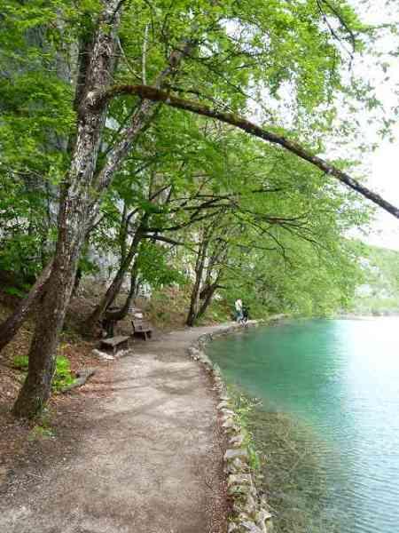 湖の周りの緑道を散歩していきます♪:プリトヴィツェ国立公園