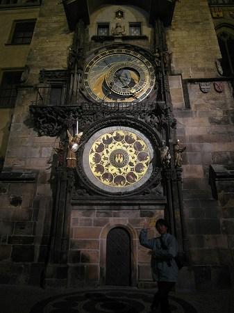 夜の天文時計inプラハ