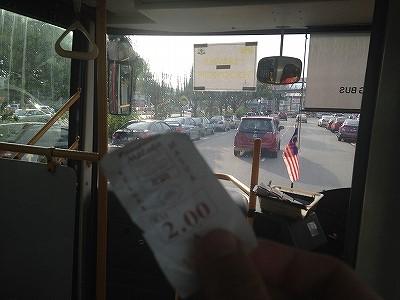 マラッカのローカルバスに乗ってます