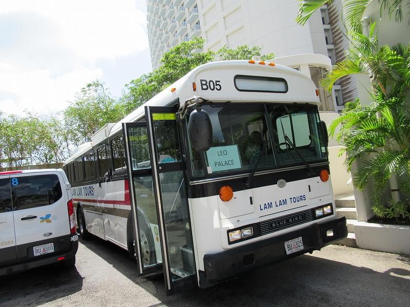 グアムレオパレスリゾートへ行く無料シャトルバス