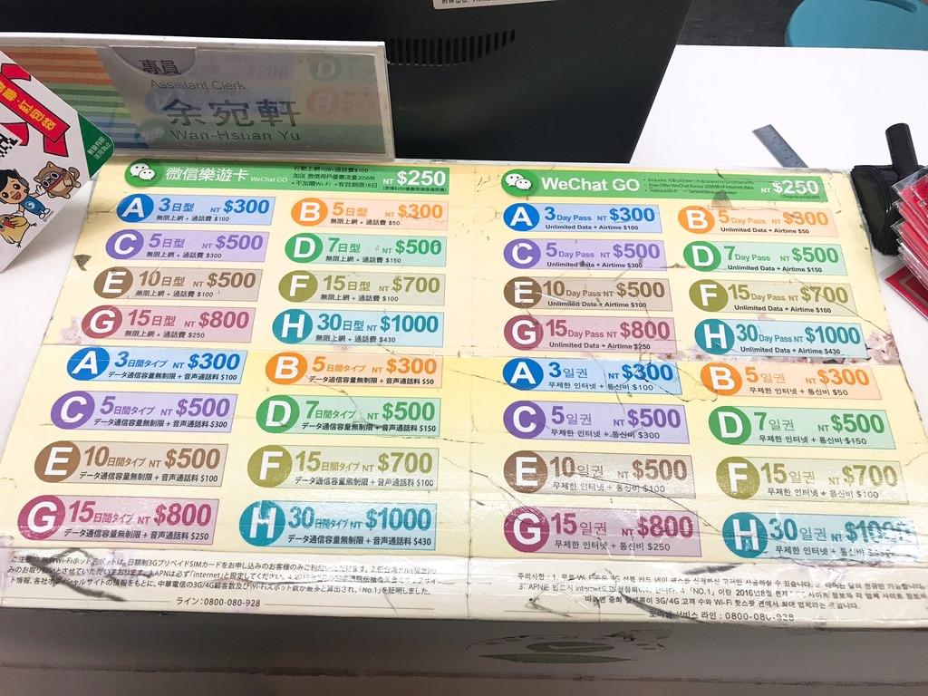 SIMカードを桃園空港で購入!