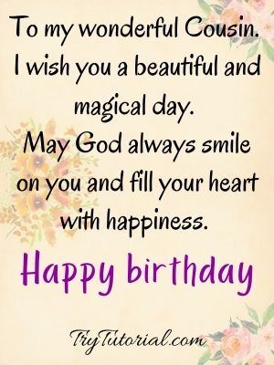 80 Amazing Happy Birthday Wishes For Cousin Male Female 2021 Trytutorial