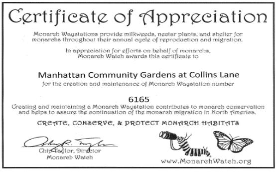 Certificate of Appreciation for Manhattan Community Gardens at Collins Lane