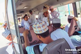 A school bus in Oman. The boys are returning from school. The girls travel on a diffrent bus, for women only.