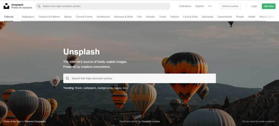 Capture d'écran Unsplash