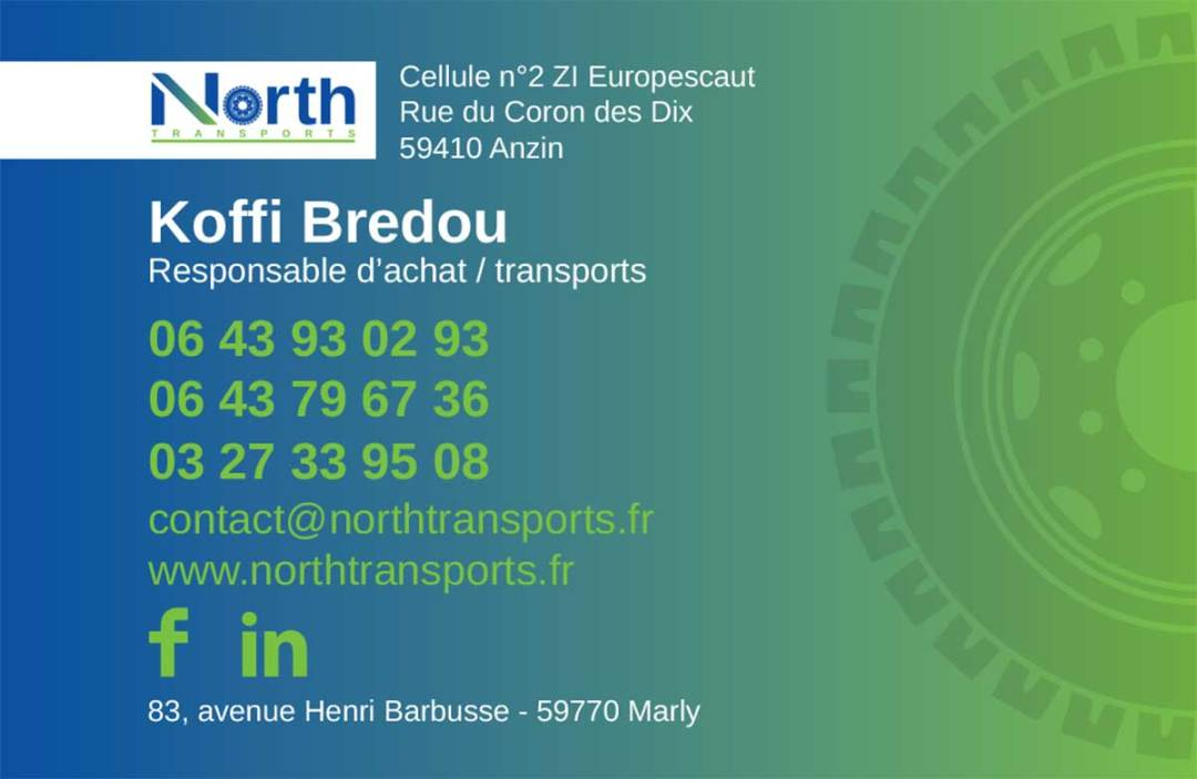 Carte de visite North Transports