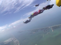 Space Shuttle Atlantis STS-125 Launch with a Record Wingsuit formation flying tight~