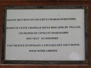 Panneau de la chapelle