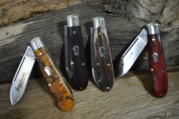 Left to Right: 1 Golden Spalted Maple, 2 Desert Ironwood, 3 Moose Antler, 4 Blood Orange Spalted Maple