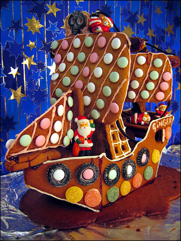 <Photo of a gingerbread boat>