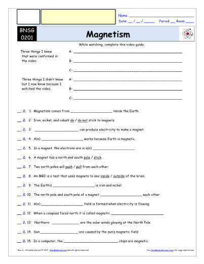 Worksheet For Bill Nye