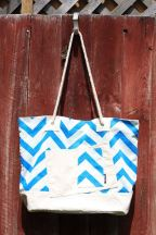 Beach Bag XL, Blue ZigZag