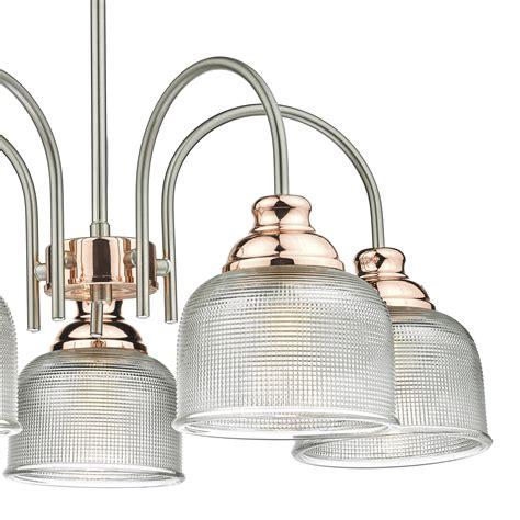 wharfdale 5 light chrome copper light pendant