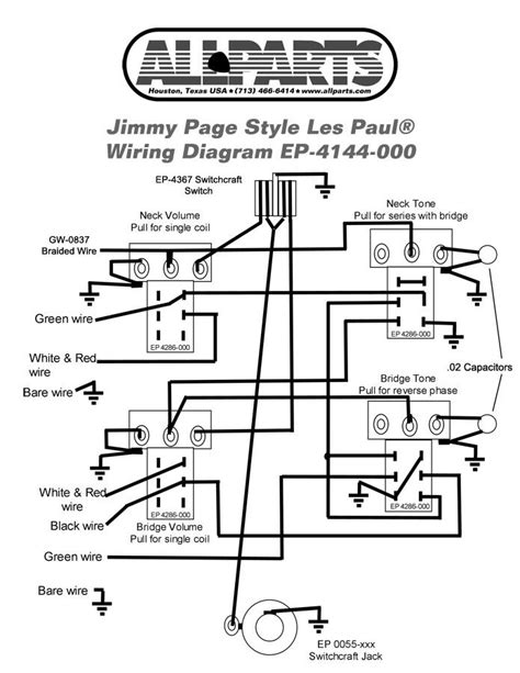 wiring kit jimmy page les paul allparts gibson