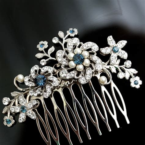 wedding hair comb blue wedding hair accessories blue