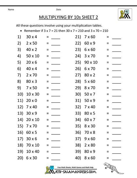 math sheets grade 4 multiplying 10s 2 math