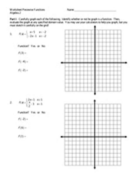graphing piecewise functions excersice worksheet