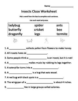 insects worksheets free insects cloze worksheet fill blank