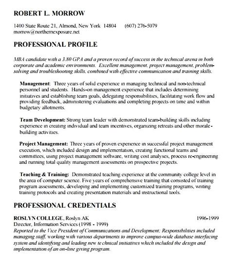 mba resume objective free sles exles format resume