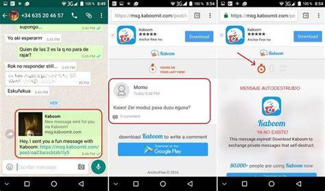 ómo enviar mensajes se autodestruyen por whatsapp kaboom