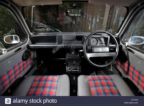 renault 4 classic french small car interior stock