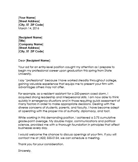 exles resume cover letter college students