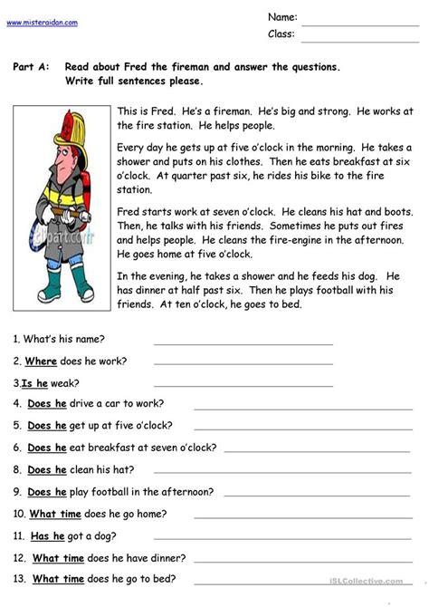 fred fireman reading comprehension english esl worksheets distance